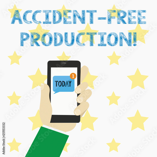 Text sign showing Accident Free Production  Conceptual photo