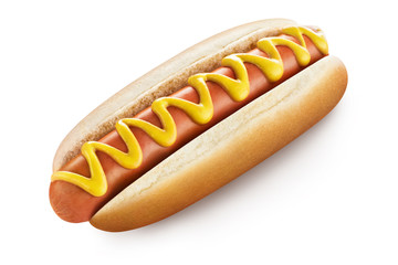 Delicious hot dog with mustard, isolated on white background