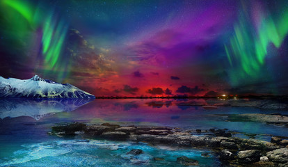 Papiers peints Aurore polaire Beautiful northern lights of the northern part of the planet