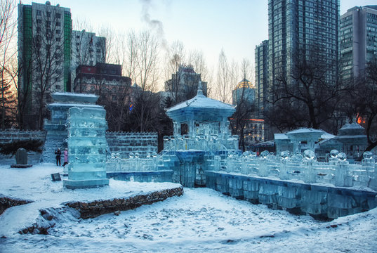 Ice and Snow Sculpture during Winter Holiday at the public park in Harbin, China.