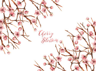 Cherry blossom,Watercolor spring illustration,card for you,handmade, buds, flowers, petals, twigs
