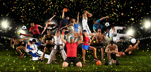 Huge multi sports collage taekwondo, tennis, soccer, basketball, etc Wall mural