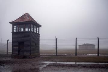 Auschwitz-Birkenau concentration camp. Death barrack. Jewish extermination camp. German death camp in Oświęcim. Barbed wire around from the camp.