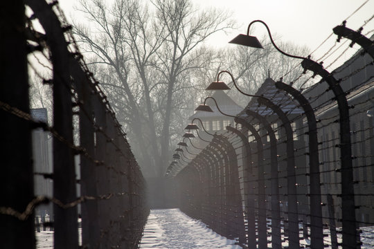 Auschwitz-Birkenau concentration camp. Death barrack. Jewish extermination camp. German death camp in Oświęcim. Barbed wire around from the camp.