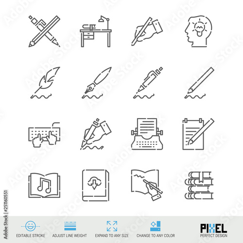Vector Line Icon Set Writing Author Books Related Linear Icons
