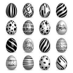 Set of black and white Easter eggs collection on a white background. Modern calligraphy, hand lettering and hand drawn pattern on eggs.