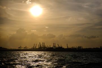 Singapore cargo docks at sunset