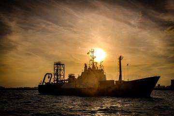 ship at sunset, singapore