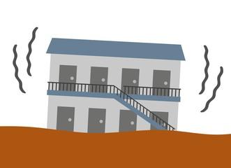 地震で揺れるアパート