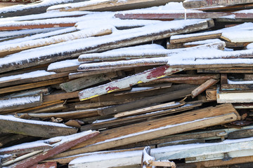bunch of old used wooden boards