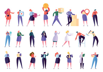 Creative Different Professional Character Set. Various Business People Work Isolated. Employee Team with Laptop. Businesswoman Community Stand Flat Cartoon Vector Illustration Collection
