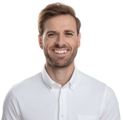 face of a laughing young casual man