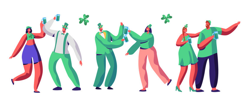 St Patrick Day Celebration Character Drink Beer. Happy People Couple in Green Hat have Fun at Irish Parade. Traditional Carnival Woman Set Isolated Flat Cartoon Vector Illustration