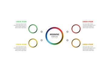 four steps design layout infographic template with round 3d realistic peper cut elements. process diagram for brochure, annual report, poster, banner. eps 10