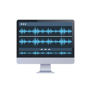 sound monitor audio waves oscillating blue light computer display digital technology record sound in studio concept white background