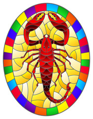 Illustration in stained glass style with abstract red  Scorpion on yellow  background,oval picture in a bright frame,