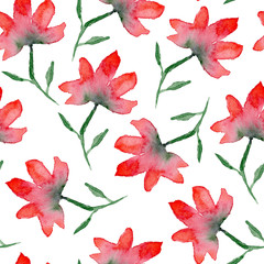 Beautiful seamless pattern with hand drawn watercolor red flowers on white background. Bright summer floral texture for textile, wrapping paper, cover, surface, wallpaper