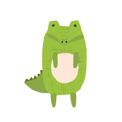 Cute childish sketchy hand drawn green crocodile illustration isolated on white background. Funny cartoon alligator character for kids print design, stickers, background decoration