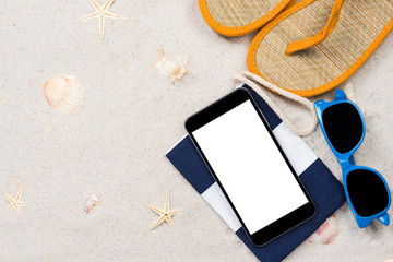 Summer vacation and travel, smartphone screen on beach