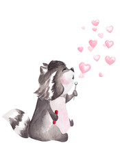 Hand drawn watercolor raccoon blowing heart shaped bubbles