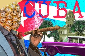 Contemporary art collage, travel to cuba, cine culture