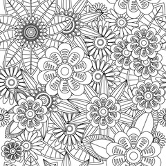 Seamless fractal pattern of flowers and leaves in black and white style. Vector illustration.