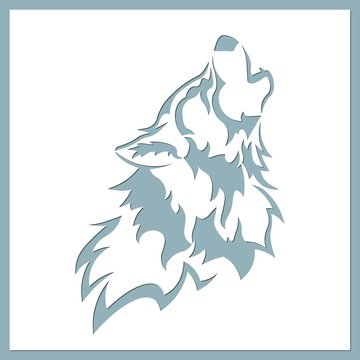 Wolf vector illustration. Paper wolf sticker. Laser cut. Template for laser cutting and Plotter. Vector illustration. Sticker. Pattern for the laser cut, serigraphy, plotter and screen printing.