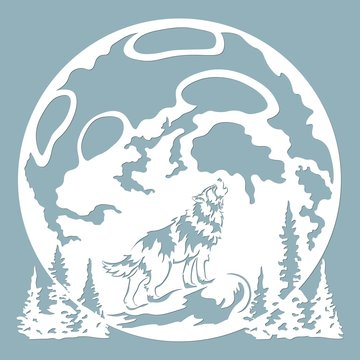 The wolf howls at the moon. Vector illustration. Paper wolf sticker. Laser cut. Template for laser cutting and Plotter. Vector illustration. Sticker. Pattern for the laser cut, serigraphy, plotter and