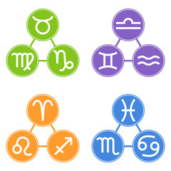 Set of Zodiac Signs Icons. Zodiac Element. Horoscope signs: Leo, Virgo, Scorpio, Libra, Aquarius, Sagittarius, Pisces, Capricorn, Taurus, Aries, Gemini, Cancer. Vector illustration for Your Design.