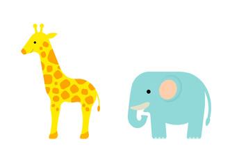 キリンとゾウ