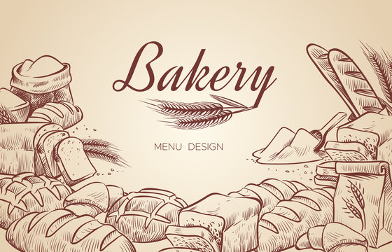 Bakery background. Hand drawn cooking bread bakery bagel breads pastry bake baking culinary vector menu design