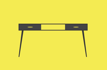 Cartoon picture of desk, table. Vector illustration. Yellow background.