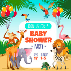 Mother baby shower. Template invitation children party greeting baby tropical animals card, cartoon vector illustration