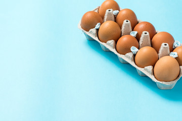 Brown Easter eggs in an eco carton pack lie on a beautiful blue background. Easter ideas. Space for text. Happy easter.