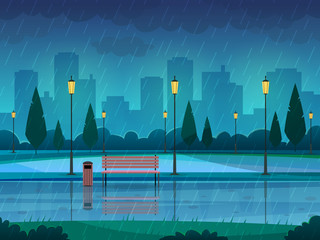 Rainy day park. Raining public park rain city nature season path bench street lamp landscape, flat vector background
