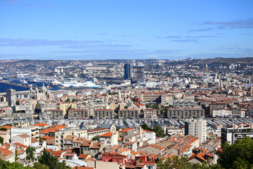 Panoramic view of Marseille and the Vieux Port