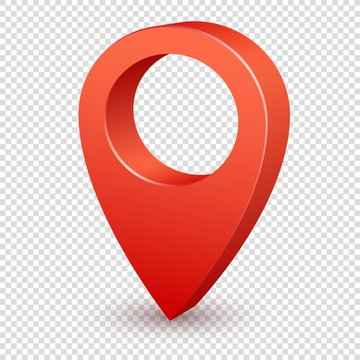Map pointer 3d pin. Pointer red pin marker for travel place. Location symbol vector isolated on transparent background