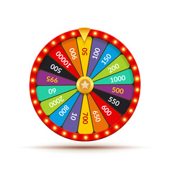 Wheel fortune casino game. Lucky prize spin jackpot lottery background. Fortune wheel isolated
