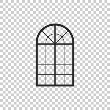 Arched window icon isolated on transparent background. Flat design. Vector Illustration