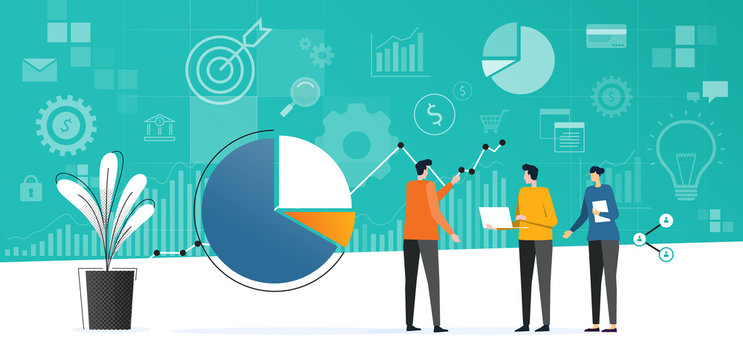 flat business team meeting working  analytics and monitoring investment finance plan on report graph dashboard concept