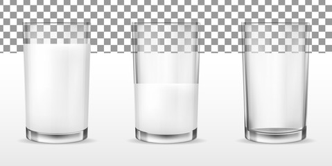 Realistic transparent glasses for milk, full and empty glass.