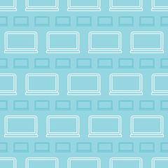Seamless pattern background with outlined laptops, portable personal computers.