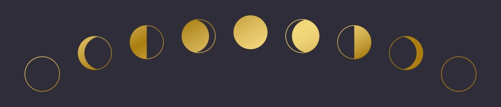 Golden Moon phases icon. Eps 10.