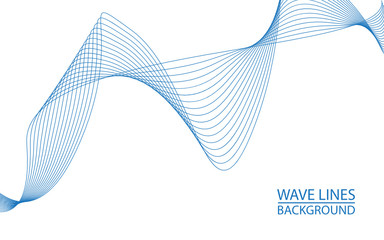 Abstract wave lines on white background. Can be used presentation, poster. Vector illustration.