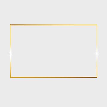Gold shiny glowing vintage frame isolated on transparent background. Vector border illustration engraved ink art.