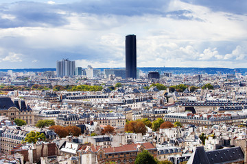 View of the Paris roofs and Montparnasse tower