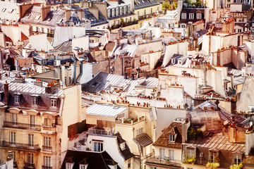 View of many roofs and houses cellars in Paris