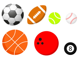 Set of different balls is isolated on a white background
