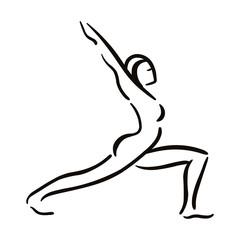 Yoga pose illustration on white backgroundRelax and meditate. Healthy lifestyle. Balance training.