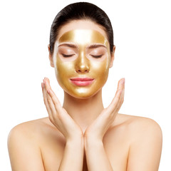 Woman Gold Mask, Beautiful Model with Golden Skin Cosmetic, Beauty Skincare and Treatment